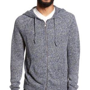 VINCE Blue Marled Zip Linen Sweater Hoodie